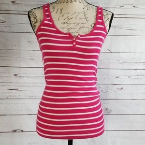 3/$30 Hollister Pink/White ribbed button tank